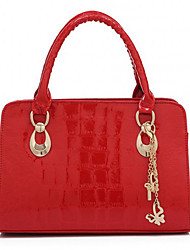 Caelyn Women's Elegant Alligator Skin Pattern Solid Color Red Tote