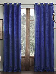 Modern Two Panels Solid  Living Room Royal Blue Curtains Drapes