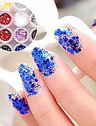 1PCS Hexagonal Glitter Tablets Decorações Nail Art NO.13-18 (cores sortidas)