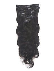 "18 ""Braziliaanse Body Wave Clip in Hair Extension # 1b Off Black Color Human Hair Extension Clip op 70g/set"