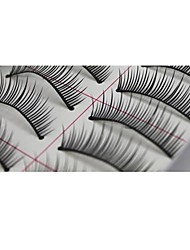 10 Pairs Pro High Quality Hand Made Synthetic Fiber Hair Natural Thin Long Style False Eyelashes