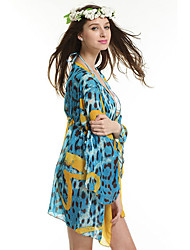 Women's Leopard Print Summer Beach Swim Dress Cover-up