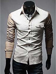 Couleur des hommes blocage shirt manches longues