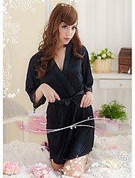 Bybs Women's Black Silk Fabrics Nightwear
