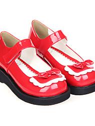 Red Patent PU de couro clássico Lolita PU 8 centímetros sapatos de salto alto