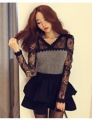 Women's Lace Gray Shirt , V Neck Long Sleeve Lace