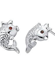 Elegantes Silber plattiert Silber mit Zirkonia Red Eye Jumpy Fisch Damenohrring