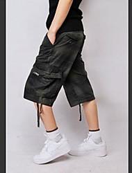 Men's Plaids Casual Shorts,Cotton Blue / Green / White