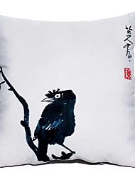 Pintura a tinta Oriental Estilo Retro Pássaro Padrão Novidade Pillow Com Insert