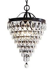 3-Light Antique Bronze Crystal Chandelier