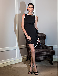 Cocktail Party Dress - Black Plus Sizes A-line Scoop Knee-length Jersey