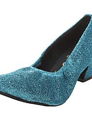 Customized Women's Sparkling Glitter Gore Chuncky Heel Ballroom Modern Dance Shoes