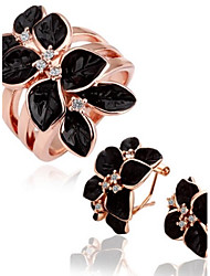 Women's Fashion 18K Rose Gold Green Crystal Alloy (Earrings&Ring) Jewelry Sets