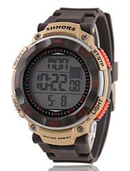Hombre multifuncional LCD Digital Brown de goma banda reloj de pulsera