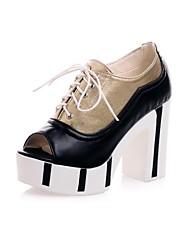 Kunstleder Damen Blockabsatz Platform Fashion Ankle Boots Schuhe (weitere Farben)