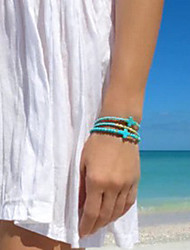 Shixin® Fashion Chaine With Cross Shape Turquoise Beads 23Cm Women'S Green Alloy Strand Bracelet(1 Pc)