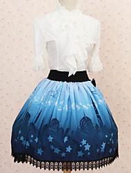 Saia Gótica Princesa Cosplay Vestidos Lolita Azul Estampado Lolita Comprimento Médio Saia Para Feminino Poliéster