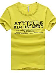 Herren T-shirt-Druck Freizeit Baumwolle Kurz-Schwarz / Weiß / Gelb