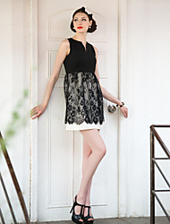 Lace Stitching Sleeveless Dress