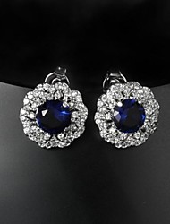 Fabulous Brass Silver Plated with Cubic Zirconia Women's Earrings(More Colors)