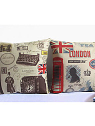 Set of 2 Retro Image Pattern Decorative Pillow Covers