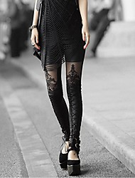 Women's Lace Embroidery Stitching Leather Leggings