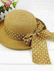 Ouyue Polka Dots Bow Straw Hat