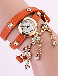 Koshi 2014 3 Diamond Chain en cuir 3 ronde de Women Watch (Orange)
