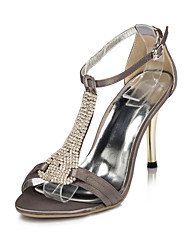 Satin Women's Stiletto Heel T-Strap Sandals With Rhinestone Shoes