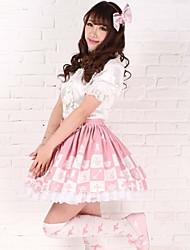 Alice Chess Knee-length Pink Polyester Sweet Princess Lolita Skirt