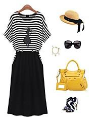 Women's Summer Tee Shirt Striped Dress