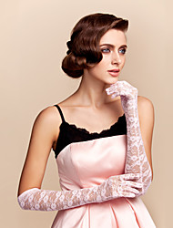 Elbow Length Fingertips Glove - Lace Bridal Gloves