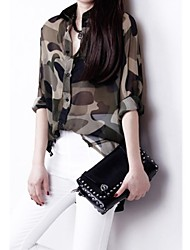 Women's Print Shirt , Shirt Collar Long Sleeve