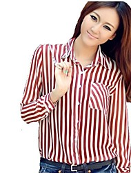 Mulheres Stripe Chiffon Camisa