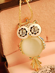 Yiyi Women's Cute Opal Owl Long Sweater Chain Necklace (Gold)