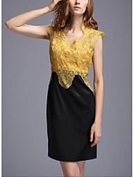 Moda decote em V bordado gaze vestido de festa da Mulher