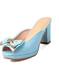 Kunstleder Damen Blockabsatz Slide Sandalen mit bowknot Schuhe (weitere Farben)