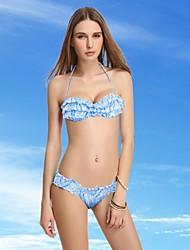 Women's Bandeau Bikinis , Ruffle Push-up/Wireless Nylon/Spandex Blue