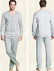 """Весна и осень пары """"Solid Color с длинными рукавами хлопок пижамы для мужчин домашней обстановки костюм"""