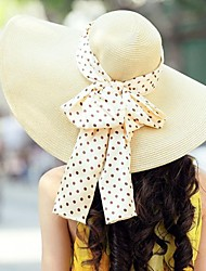 Mode de paille Famale plein air / Casual / chapeaux de plage de soie et de bowknot