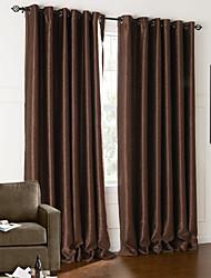(dos paneles) moderno marrón floral cortina blackout en relieve de lujo