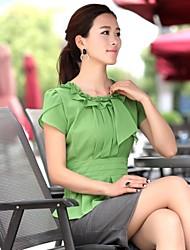 Women's Solid Green/White Blouse , Ruff Collar Short Sleeve Pleated/Ruffle