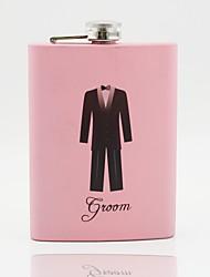 padrino de boda regalo personalizado rosa de acero inoxidable de 8 oz frasco novio