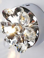 Wall Light, 1 Luce, Moderno rotondo in metallo Cristallo Cromo