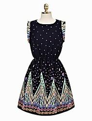 Moda Pavão Imprimir vestido de cintura bolha Flores Encolhimento