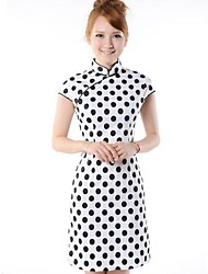 Women's Vintage Polka Dot Sheath Dress , Stand Above Knee Silk
