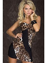 Vestido de leopardo apretado sin tirantes de la Mujer