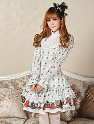 Uma-Peça/Vestidos Gótica / Doce / Lolita Clássica e Tradicional Princesa Cosplay Vestidos Lolita Branco Estampado Manga Comprida