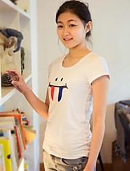 Женские личности Хлопок дна футболки с улыбающимся лицом образцов (больше цветов)
