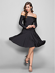 TS Couture Dress - Sexy Open Back Elegant Little Black Dress Sheath / Column Off-the-shoulder Knee-length Jersey with Pleats